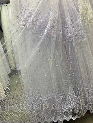 Турецкий фатин с вышивкой 1.60м 5039 белого цвета, фото 2