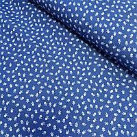 Джинс с белыми цветами на синем фоне, ширина 150 см, фото 1
