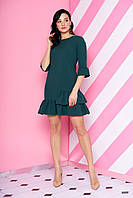 """Красивое короткое приталенное платье с рюшами на юбке """"AZ-115"""" зеленое"""
