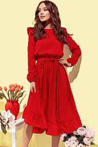 Платье женское с рюшиками Красный