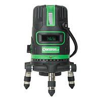 Уровень лазерный 5 лазерных головок, зеленый лазер, звуковая индикация. INTERTOOL MT-3008, фото 1
