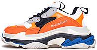 Женские кроссовки Balenciaga Triple S Orange (в стиле Баленсиага Трипл С) оранжевые