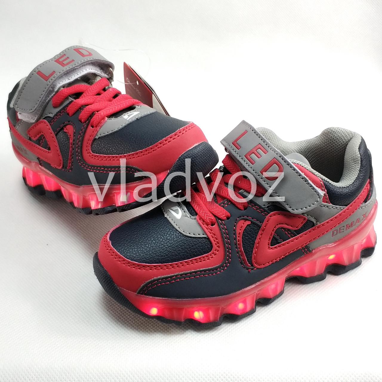 фото детских светящихся кроссовок с led подсветкой красные для мальчика