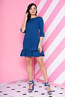 """Красивое коктейльное платье мини с рюшами """"AZ-115"""" синего цвета индиго"""