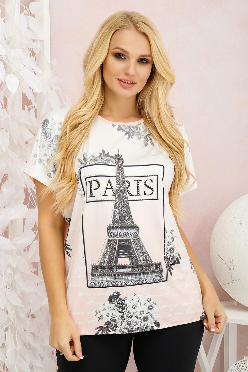 Футболка женская Париж персиковый