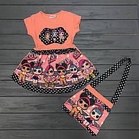 Детская одежда оптом Платье нарядное LOL для девочек c сумочкой  оптом р.3-10 лет