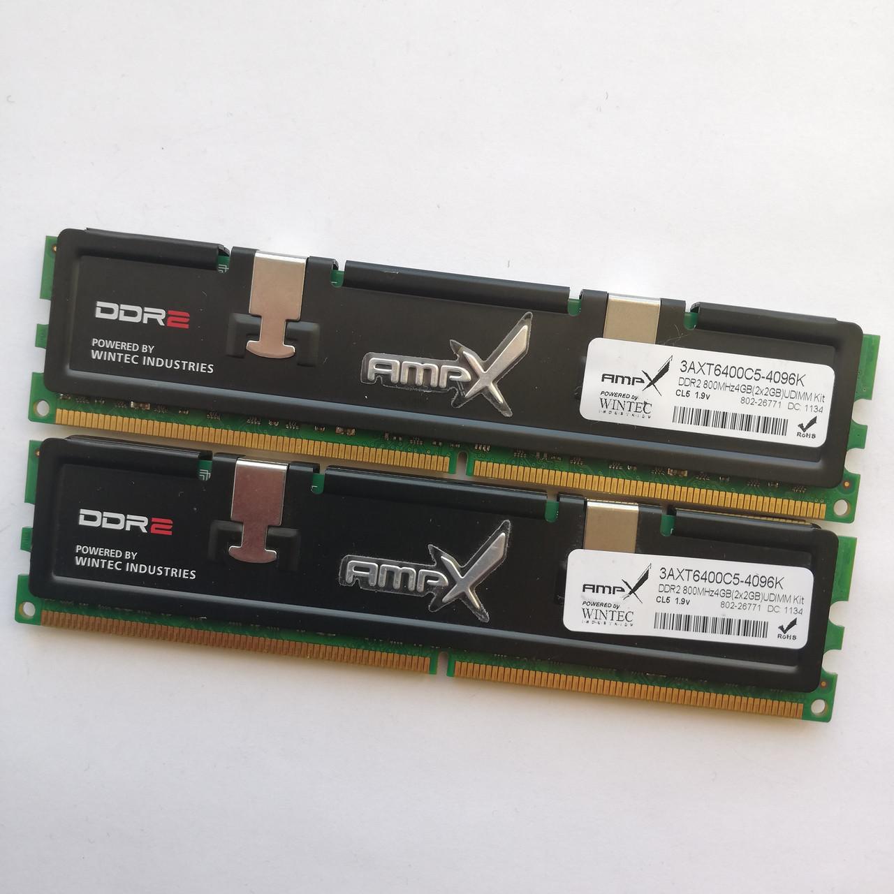 Комплект оперативной памяти Wintec DDR2 4Gb KIT of 2 800MHz PC2 6400U CL5 (3AXT6400C5-4096K) Б/У