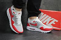 Мужские кроссовки в стиле Nike Air Max 1 Flyknit, белые с красным 44 (28,2 см)
