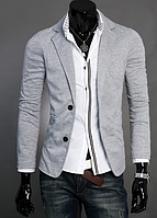 """Стильный мужской блейзер под джинсы """"Royal Gray"""" в сером цвете"""