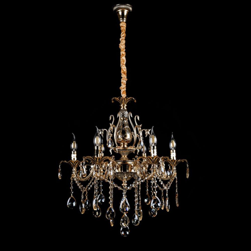 Классическая люстра-свеча на 6 лампочек СветМира VL-2117/6 (золотая)