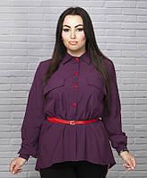 Симпатичная женская блузка с поясом супер батал, фото 1