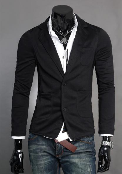 """Стильный мужской блейзер под джинсы """"Royal Gray"""" в черном цвете"""