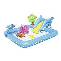 Надувной игровой центр Bestway 53052 «Аквариум», 239 х 206 х 86 см,с горкой, с игрушками , фото 1