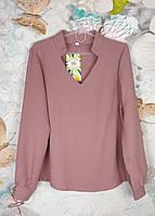 Детская блузка с длинным рукавом  с V-воротом на  девочку р. 128-152 фрез, фото 1