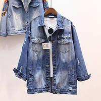 Женская джинсовая куртка длинная рванка синяя, фото 1