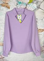 Детская блузка с длинным рукавом  с V-воротом на  девочку р. 128-152 сирень, фото 1