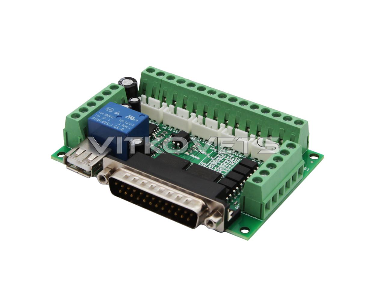 Интерфейсная плата LPT на 5 координат BL-MACH-V1.1 (без USB и LPT кабелей)