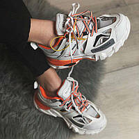 Balenciaga Track White Orange | кроссовки женские; белые-оранжевые; баленсиага трэк