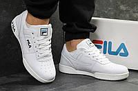 Мужские кроссовки в стиле Fila, белые с черным и голубым 41 (25,7 см)