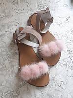 Пудровые сандалии босоножки женские и подростковые с норкой натуралки с 34 по 42 размер