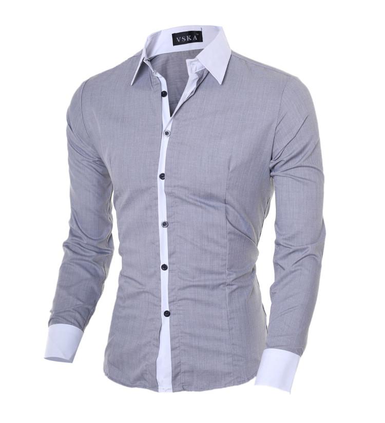 Стильная  мужская рубашка приталенная slim-fit «Classic Grey» в сером цвете