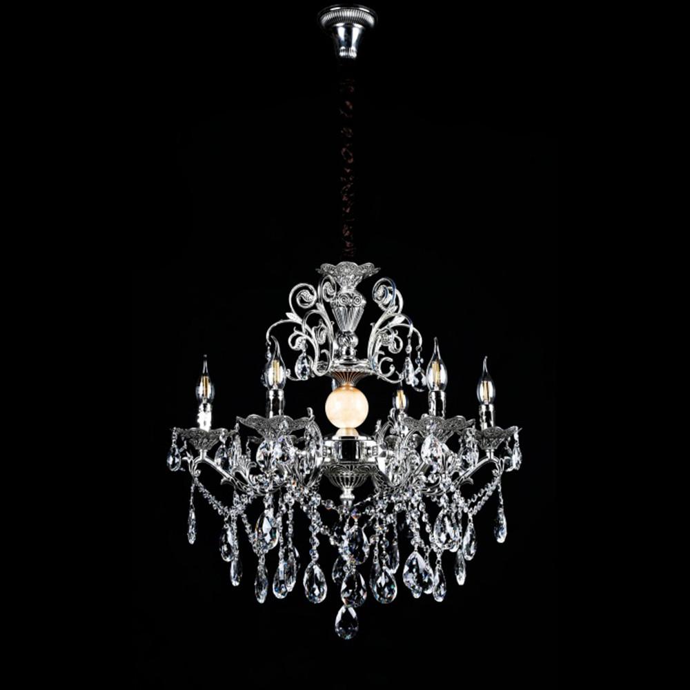 Класична люстра-свічка на 6 лампочок СветМира VL-3110/6 (срібна)