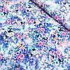 Штапель с розовыми, белыми и голубыми цветами, ширина 140 см