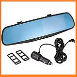 Відеореєстратор зеркало DVR 138W HD 4.3 Диагональ на 2Камери, фото 2