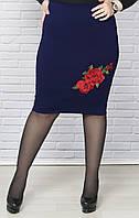Облегающая юбка трикотажная с нашивкой батал, фото 1