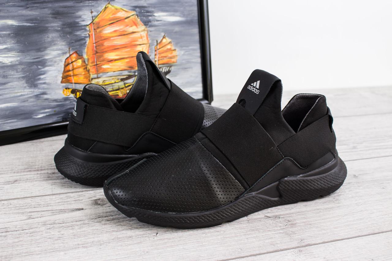 Мужские кожаные кроссовки Adidas Tubular Runner (Адидас Тубулар Раннер) - черные