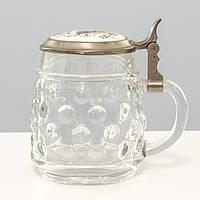 Винтажный пивной бокал, стекло, оловянная крышка, Германия, 500 мл, фото 1