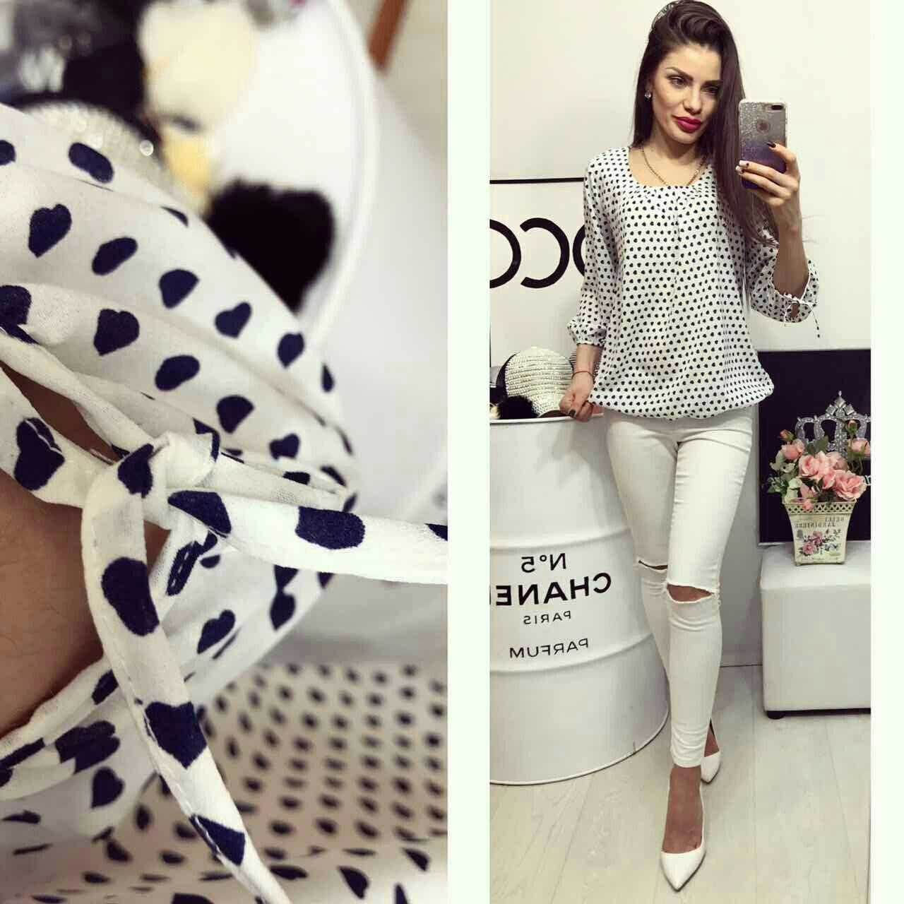 b5990a46b91 Блузка арт 776 белая в сердечко - Интернет магазин женской одежды Khan в  Одессе
