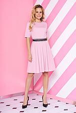 """Короткий трикотажне плаття-полусолнце з мереживом на талії """"S-69"""" пудровое, фото 2"""