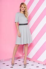 """Короткий трикотажне плаття-полусолнце з мереживом на талії """"S-69"""" пудровое, фото 3"""