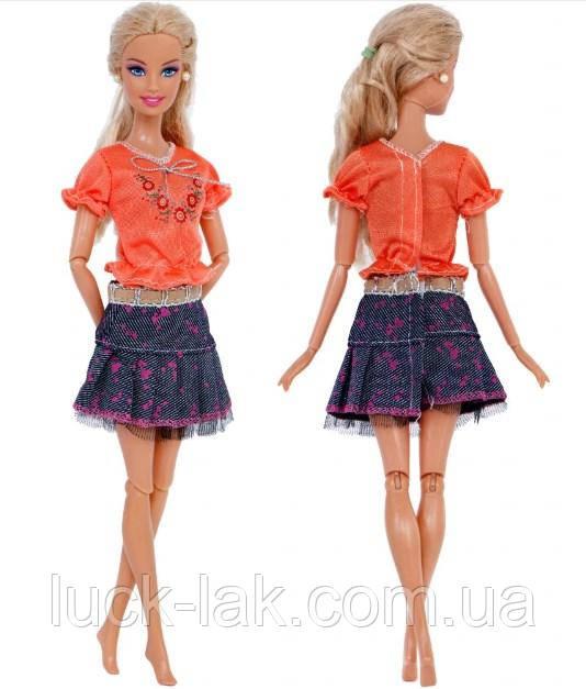 Кукольный костюм юбка и футболка для куклы Барби
