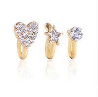 Пирсинга обманка в нос серебристое сердце с кристаллами