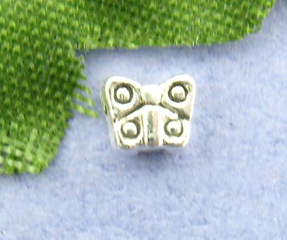 """Бусина """" Бабочка """", 3 мм x 4 мм, Античное серебро, Цинковый сплав"""