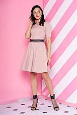 """Короткое трикотажное платье с юбкой клеш и кружевом на талии """"S-69"""" мятное, фото 2"""