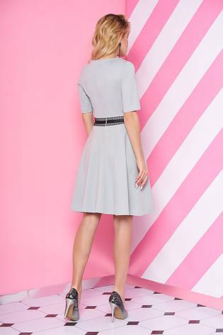 """Короткий трикотажна сукня з спідницею кльош і мереживом на талії """"S-69"""" м'ятна, фото 2"""