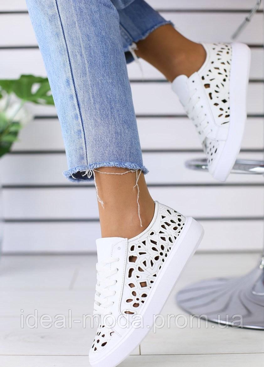 ca72d625 Летние белые кроссовки кеды кожа с перфорацией -