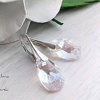 Классические серебряные сережки с прозрачными подвесками Сваровски