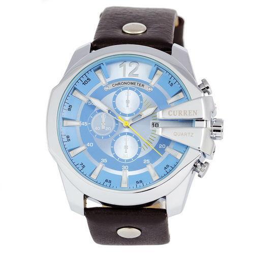 Часы Мужские Curren Silver-Black Blue Черный Ремешок  Чоловічий годинник, ремінець. ГАРАНТИЯ !