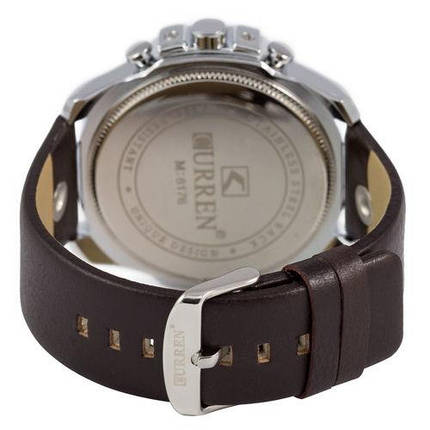 Часы Мужские Curren Silver-Black Blue Черный Ремешок  Чоловічий годинник, ремінець. ГАРАНТИЯ !, фото 2