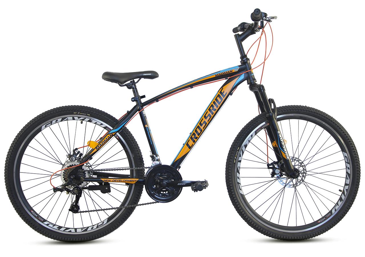 """Гірський велосипед CROSSRIDE """"MAD MAN"""" 27,5"""" з дисковими гальмами, Чорно-помаранчевий"""