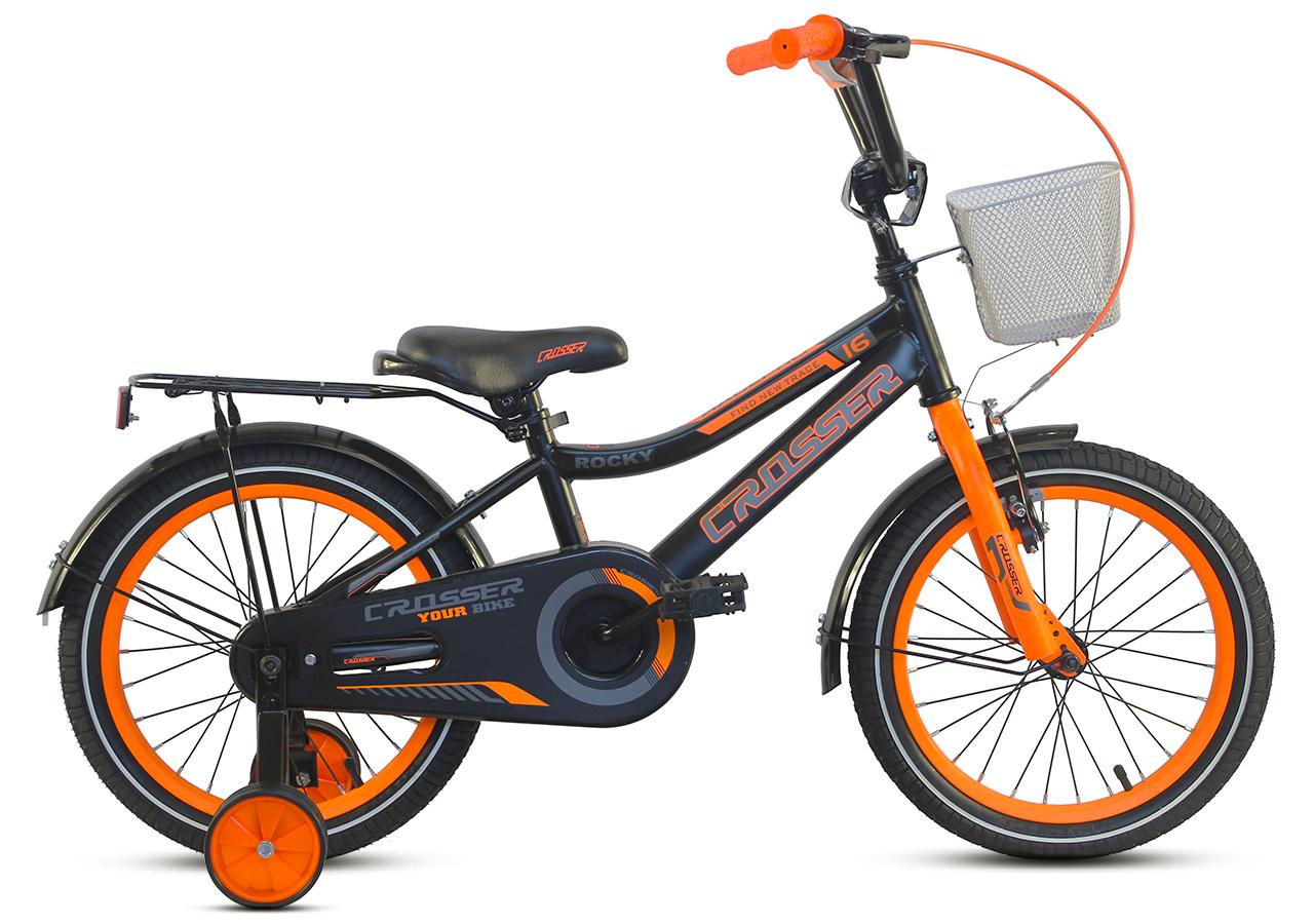 """Детский велосипед CROSSER ROCKY 16"""" с корзиной, багажником и боковыми колесами, Черно-оранжевый"""