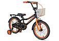 """Детский велосипед CROSSER ROCKY 16"""" с корзиной, багажником и боковыми колесами, Черно-оранжевый, фото 2"""