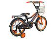 """Детский велосипед CROSSER ROCKY 16"""" с корзиной, багажником и боковыми колесами, Черно-оранжевый, фото 3"""