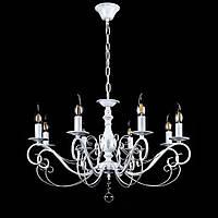 Классическая люстра-свеча на 8 лампочек СветМира VL-30872/8 (белая с золотой патиной)