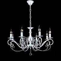 Классическая люстра-свеча на 8 лампочек СветМира VL-30872/8 (белая с серебряной патиной)