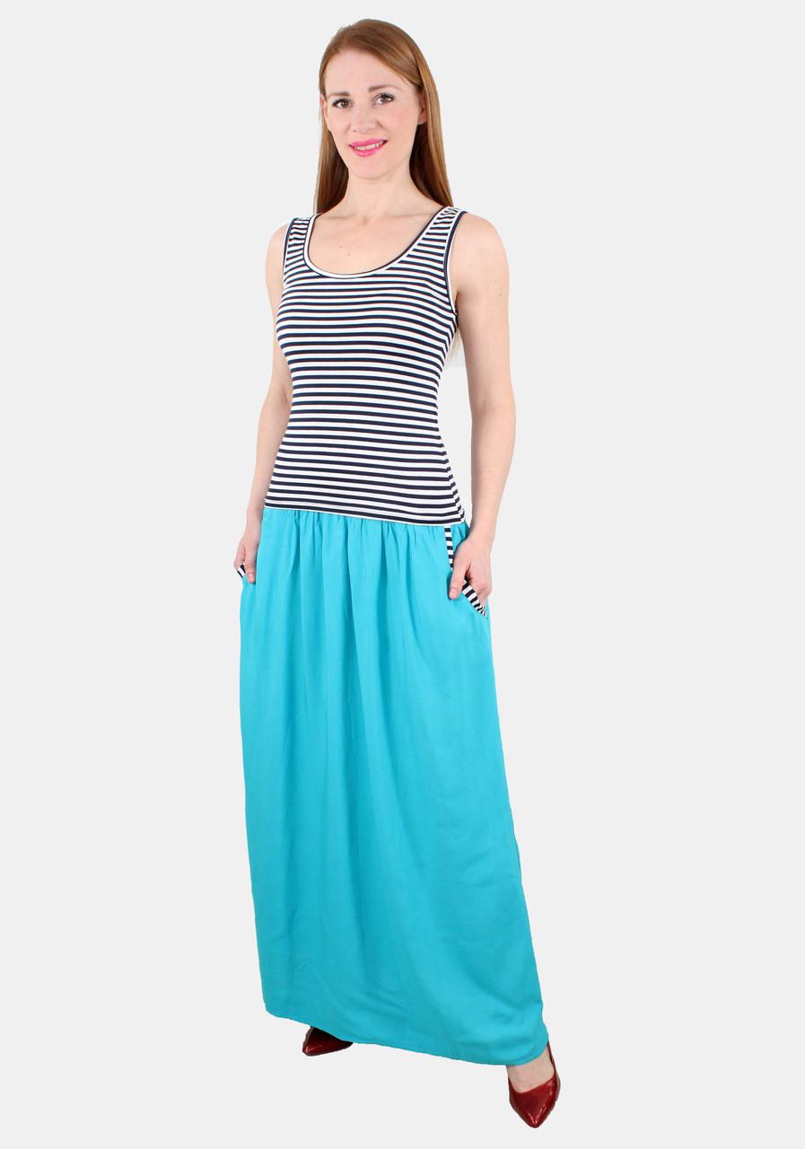 Платье майка длинное 42-48 р ( ментол, коралл, бирюза )